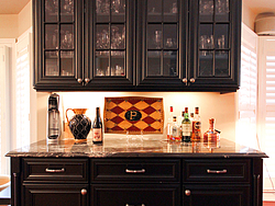 Large Kitchen With Island - Black Cabinets