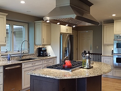 Transitional Kitchen With Island Cooktop Remodel