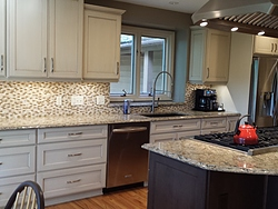 Transitional Kitchen With Island Cooktop - Cabinets
