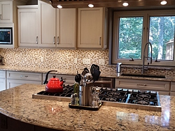 Transitional Kitchen With Island Cooktop - Island Countertop