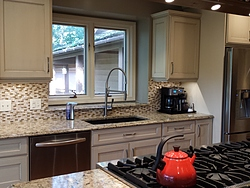 Transitional Kitchen With Island Cooktop - Sink