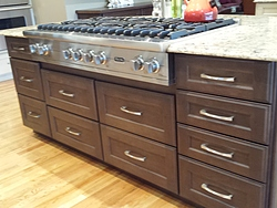 Transitional Kitchen With Island Cooktop - Island Cabinets