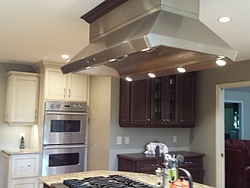 Transitional Kitchen With Island Cooktop - Island Hood