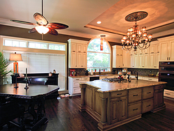 Large Kitchen with Functional Island - Chandelier Lighting