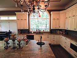 Large Kitchen with Functional Island - White Kitchen Cabinets