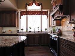 Traditional Kitchen With Center Island - Large Windows