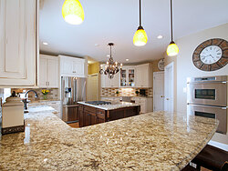 Transitional Kitchen With Accent Island - Countertop
