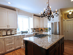 Transitional Kitchen With Accent Island - Island Countertop