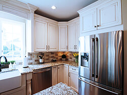 Transitional Kitchen With Accent Island - Kitchen Cabinets