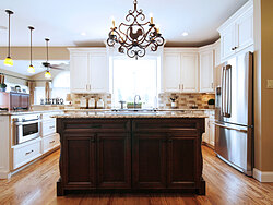 Transitional Kitchen With Accent Island - Kitchen Island