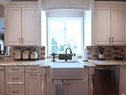 Transitional Kitchen With Accent Island - Sink