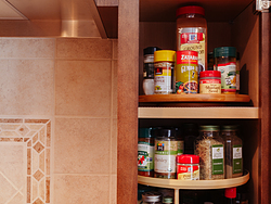 Contemporary Cherry Kitchen - Spice Storage