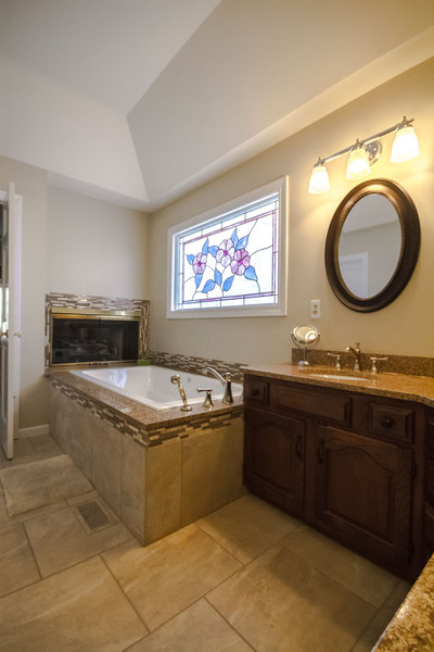 Henry Kitchen and Bath & Henry | Neutral Bathroom With Fireplace | Bath Design