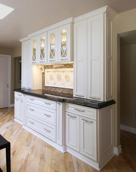 Henry | White Kitchen Design With Marble Island on
