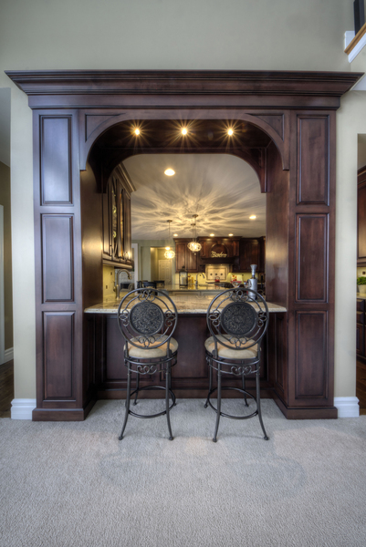 Open Kitchen With Arch   Kitchen Bar Seating